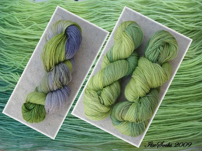 frühlingshafte grün-flieder Färbung auf Merino-Leinen