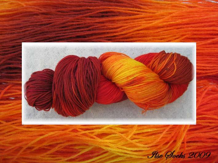 feuerrote Farbmischung auf reiner Merinowolle