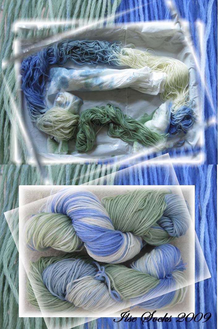 Blaugrüne Töne auf reiner Merinowolle