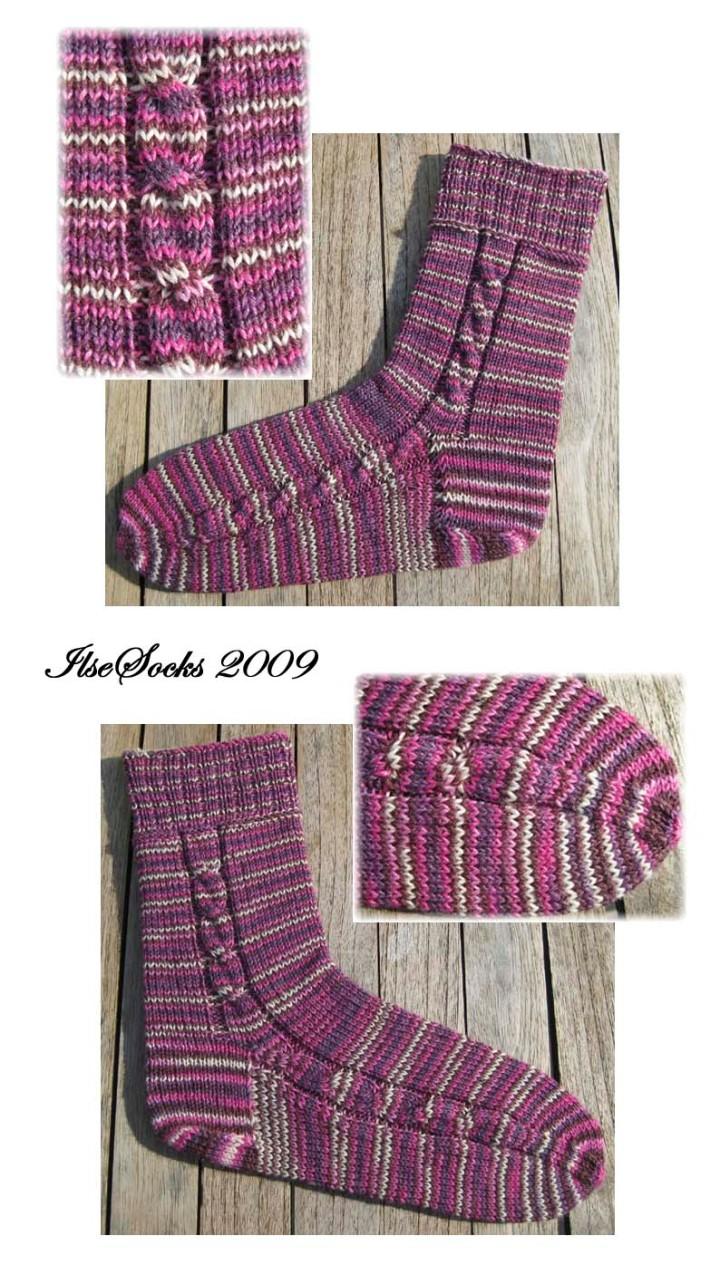 Socken aus interessanter rosa/weiß/pink/brauner Färbung von Drachenwolle II